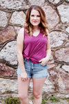 Esther V-Neck Tank {Magenta} - Kade & Cate