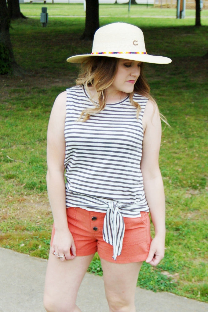 O'neill chesapeak top.  Striped front knot tank.  Summer tank top.