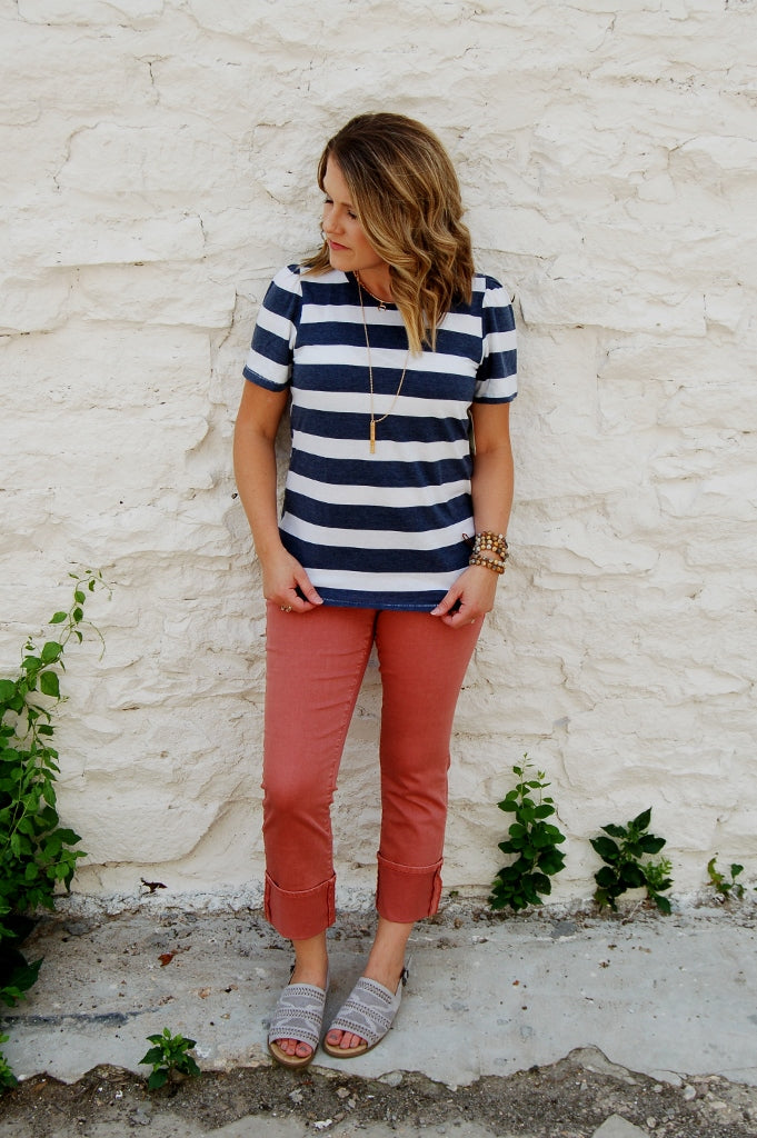 wide rugby stripe casual tee.  lucky brand staple top.