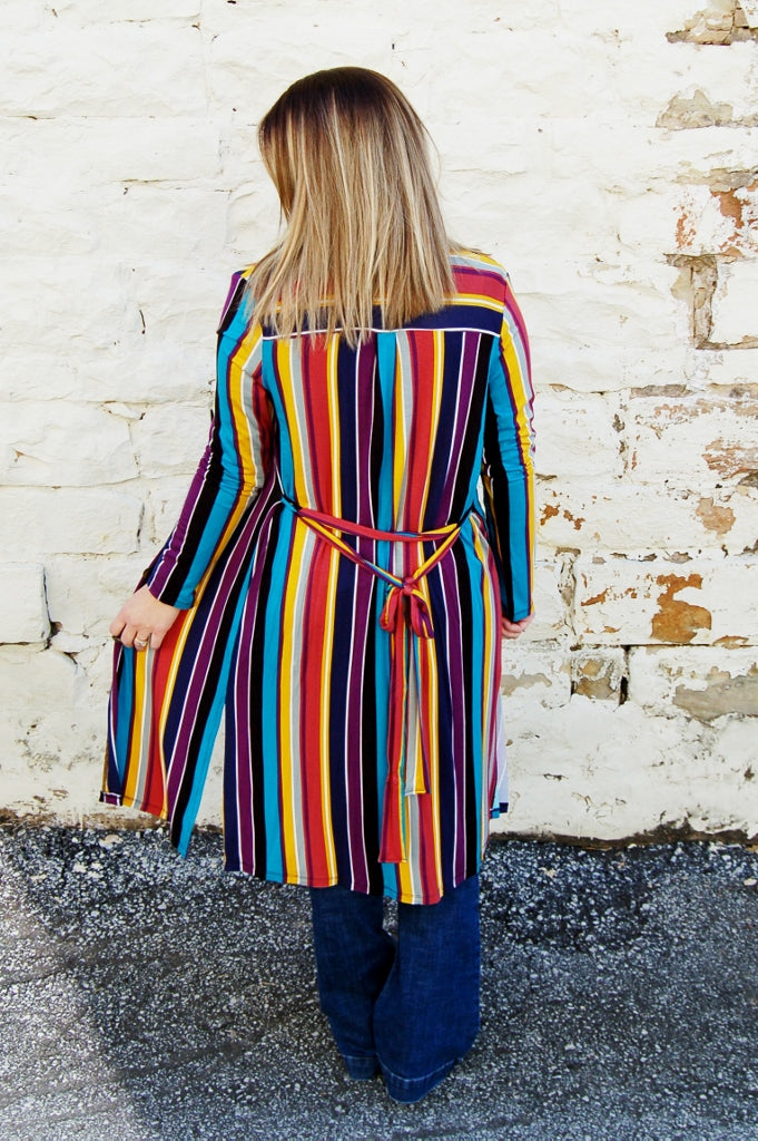 Zettie Striped Button Down Top/ Kimono
