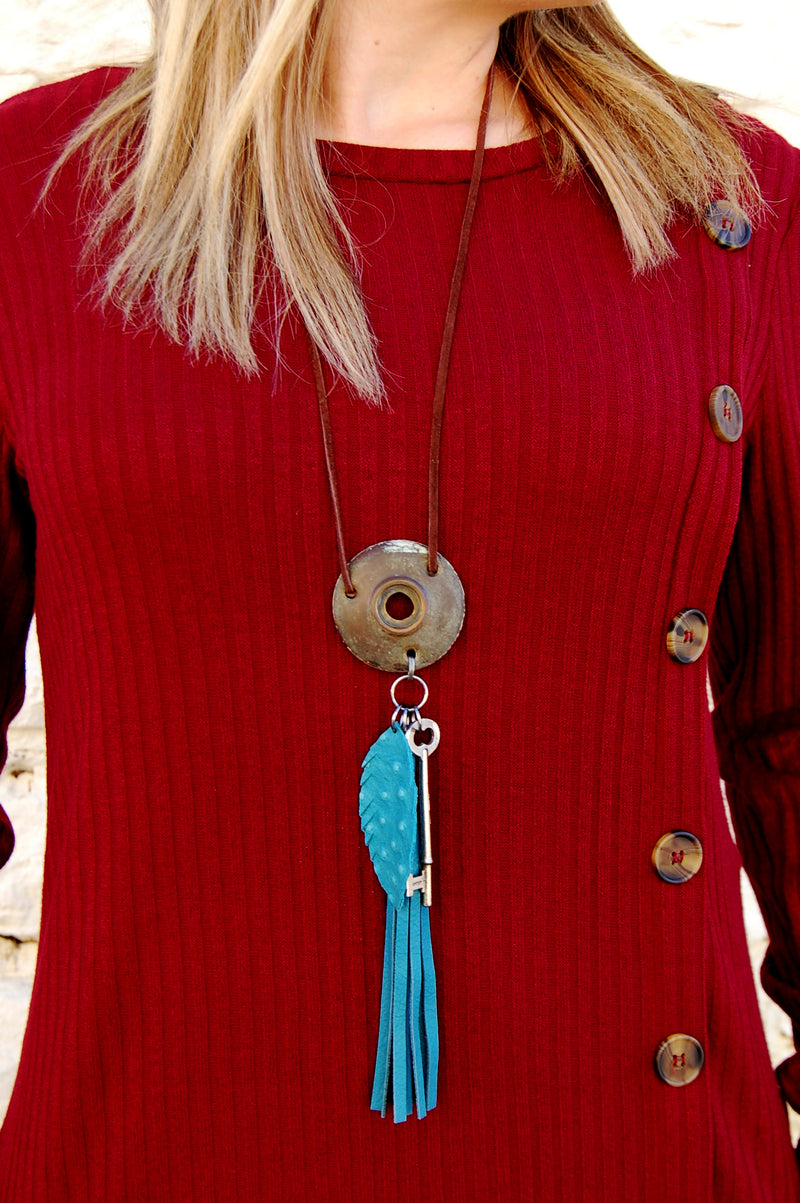 Turquoise Ostrich Leather Tassel Necklace