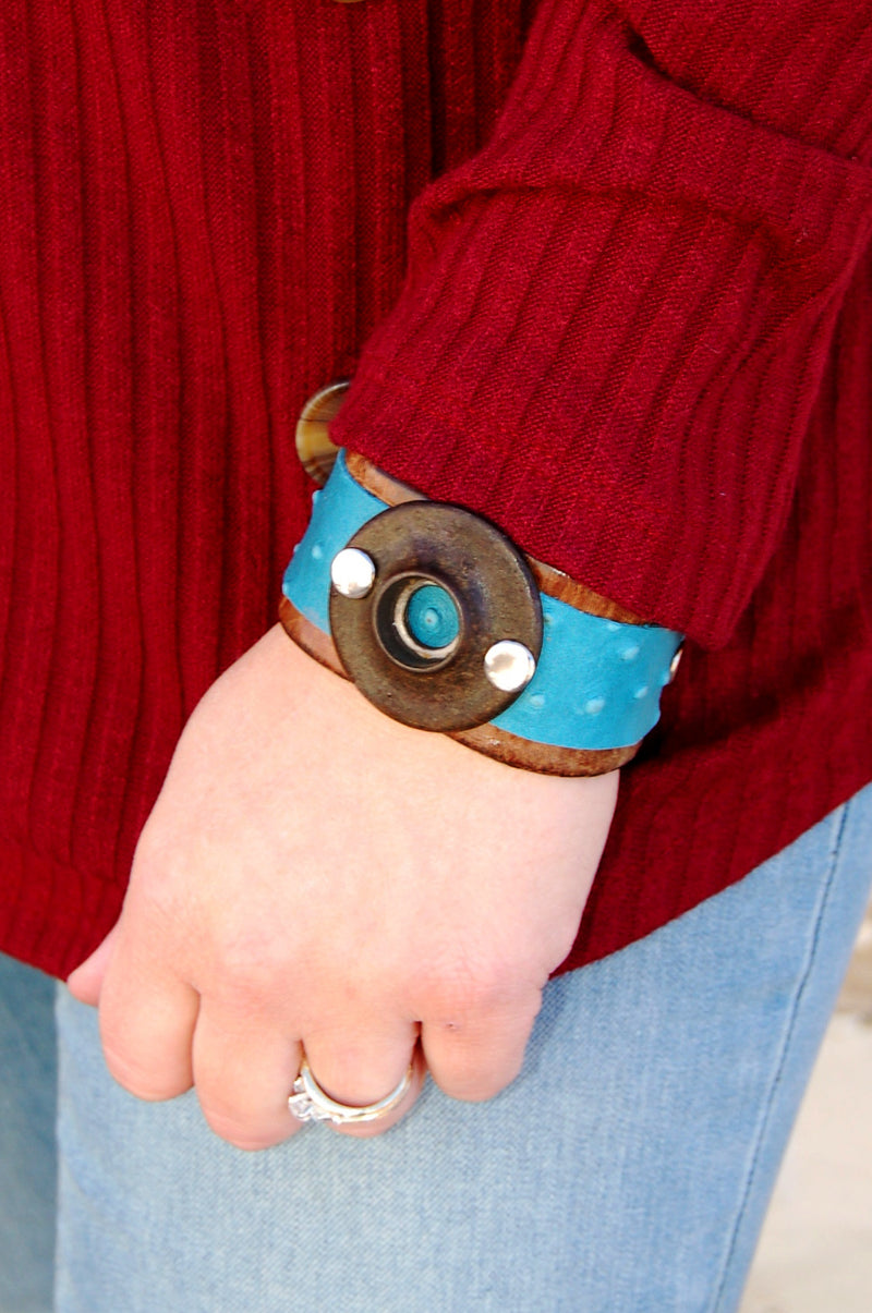 Handcrafted leather cuff with vintage hardware.  Bohemian western style leather cuff bracelet.
