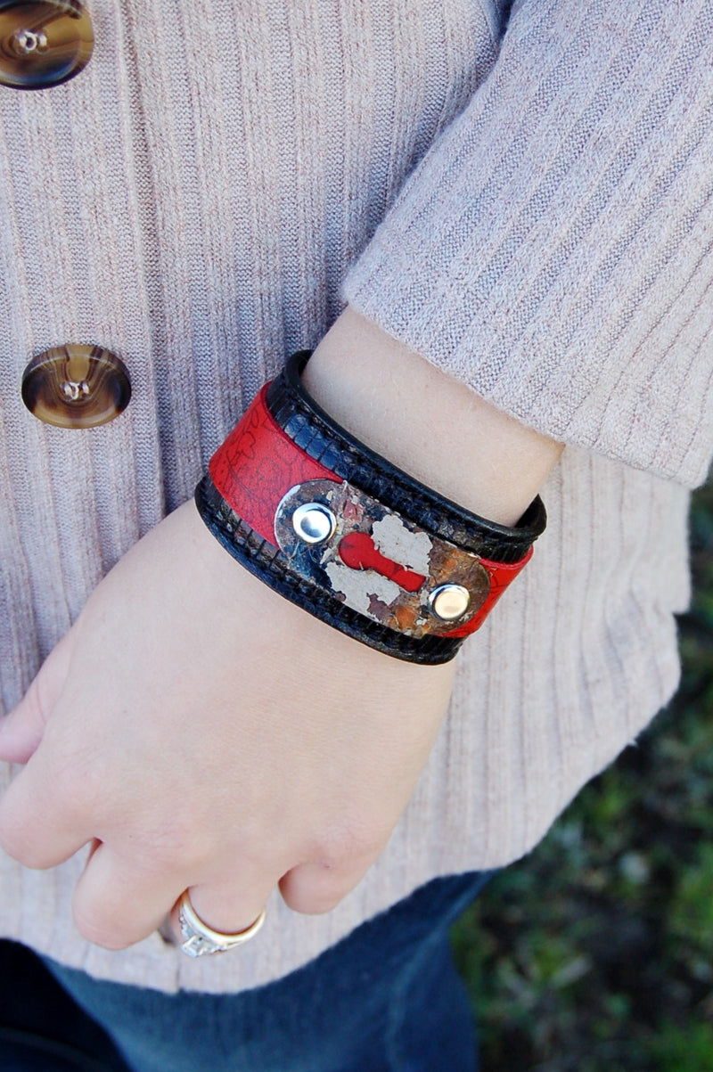 Red Paisley on Black Leather Cuff with Keyhole