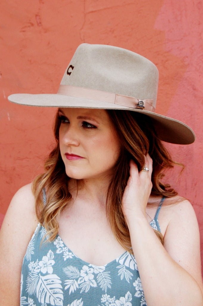 Highway felt hat by charlie one horse.  mushroom color highway hat.  c1h hats.  western bohemian cowgirl hat.