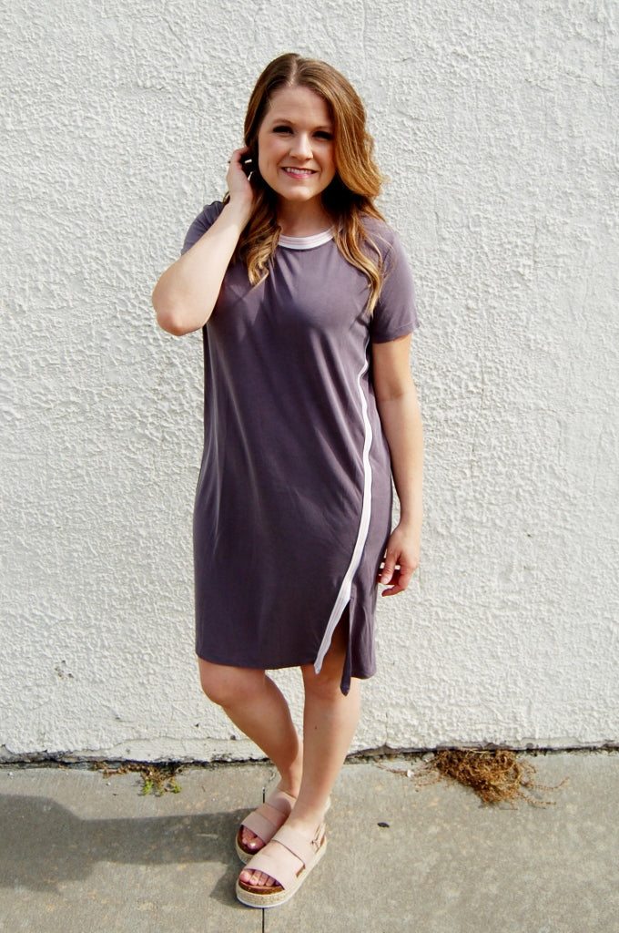 another love nicole knee length dress.  charcoal grey tshirt dress.  retro side stripe dress.