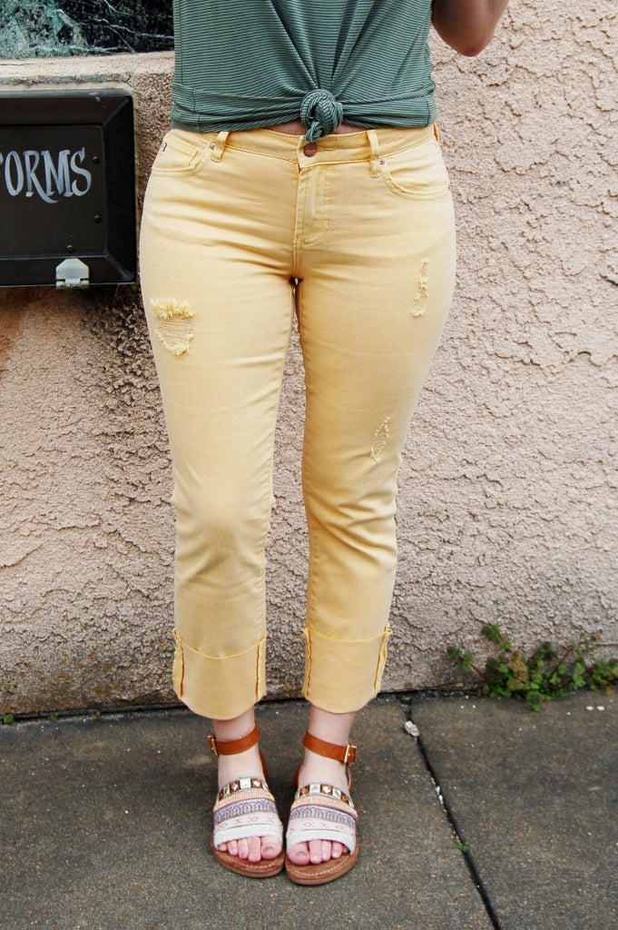 Dear John Playback cuffed crop straight leg pant.  Mellow Yellow cropped pant.  Dear John denim.