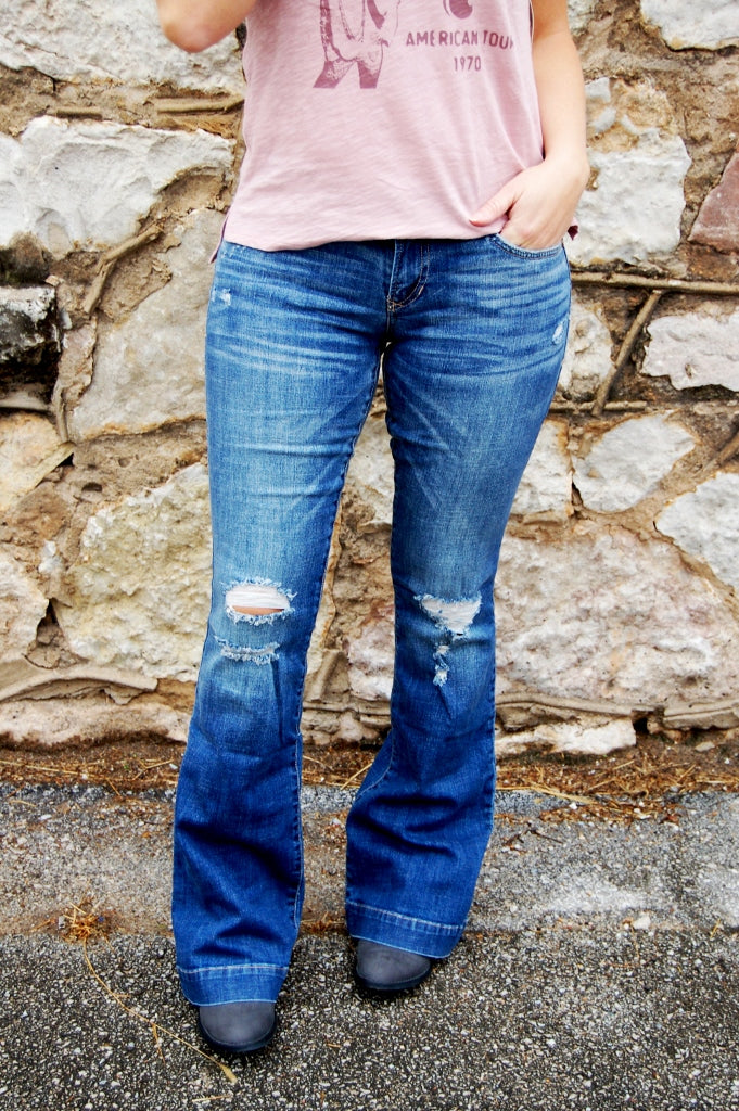 Dear John Rosie flare jean in wright color.  Distressed flare jeans. Bohemian style denim.