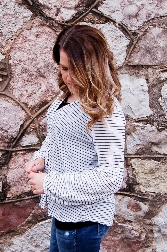 Pinstripe Puff Sleeve Top