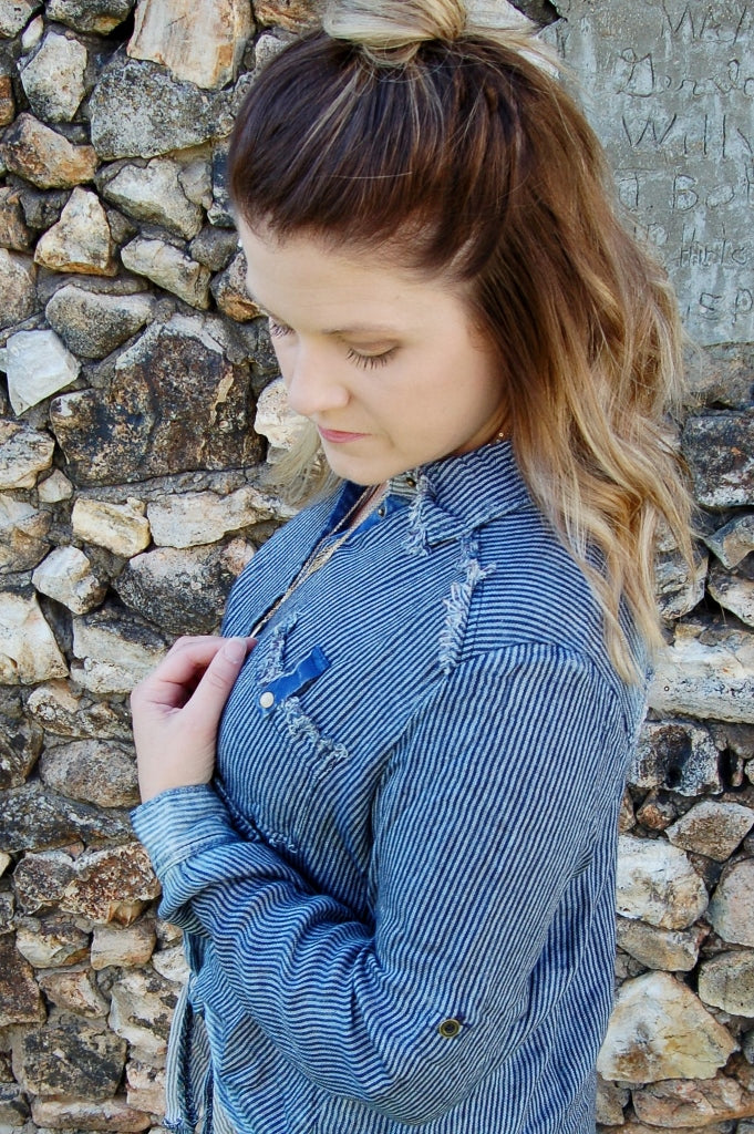 Winter Blue Pinstripe Front Tie Top