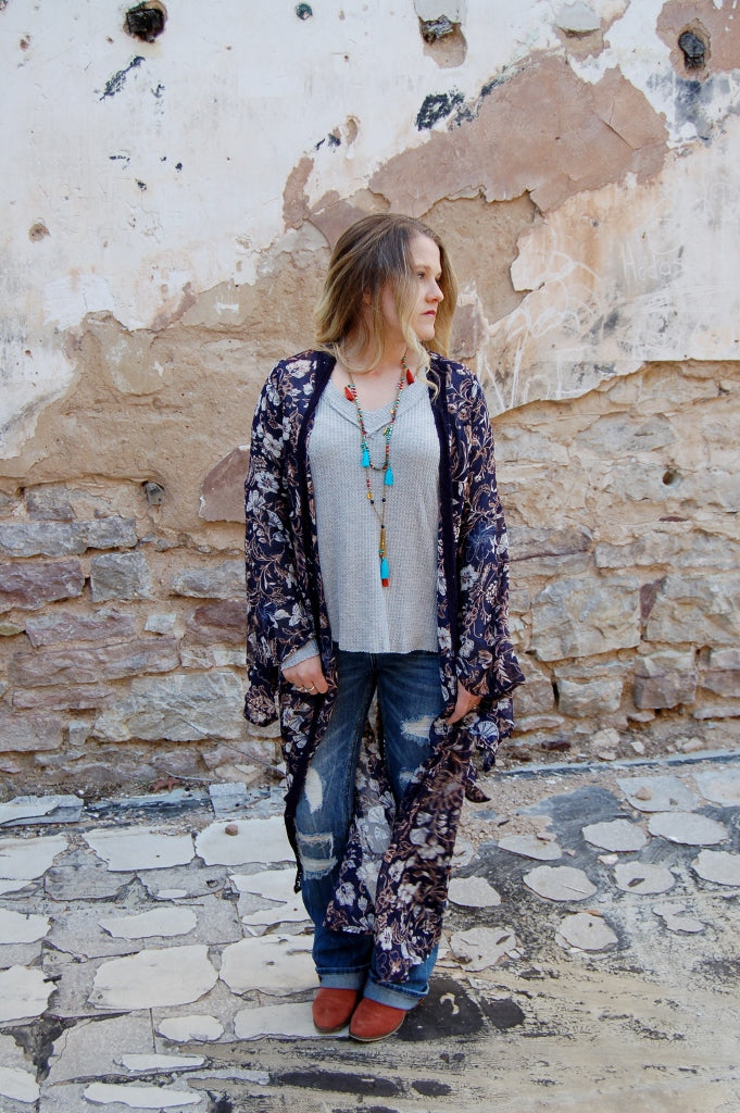 Floral duster with crotchet trim.  Sadie & sage duster.
