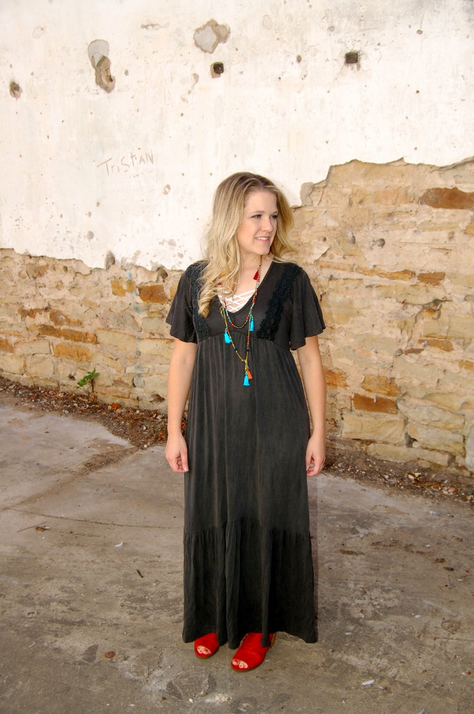 Vintage black maxi by Sadie & Sage with crotchet detail, umpire waist, flutter sleeves and bottom ruffle.  Bohemian fall maxi dress.