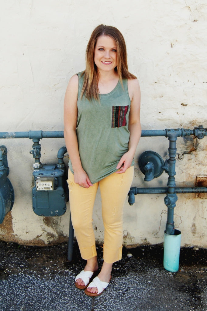 POL olive mineral washed tribal pocket detail tank top.  Boho summer tank.