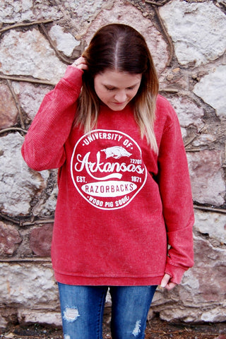 22a0ec8362 Arkansas Razorbacks Corded Crew Neck Pullover. Kade   Cate.  59.00. Rust  Lace Up Sweater