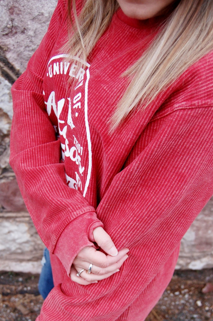 Arkansas Razorbacks Corded Crew Neck Pullover - Kade & Cate