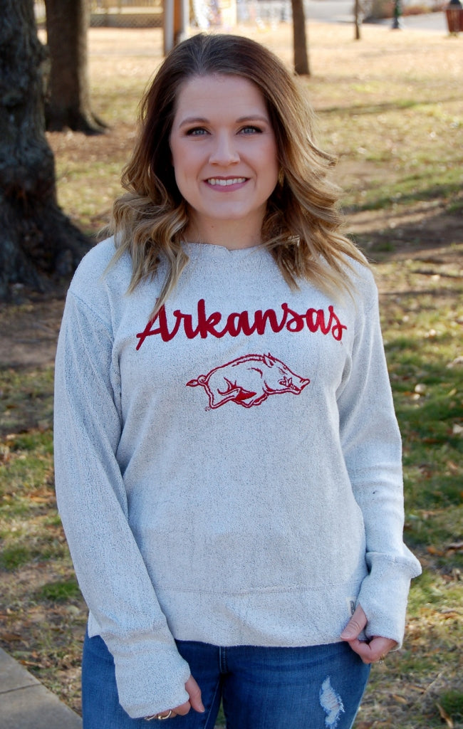Arkansas Razorbacks Cuddle Crew Top - Kade & Cate