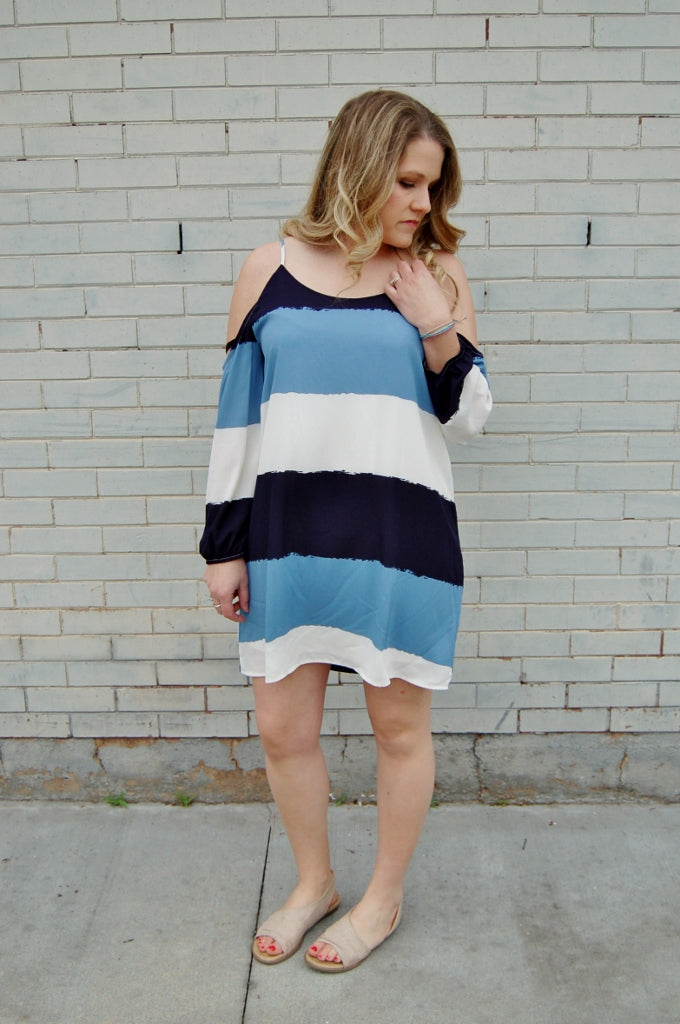 Cold shoulder, backless dress with thick horizontal stripe.  Summer dress.  Flowy sexy above knee tunic dress