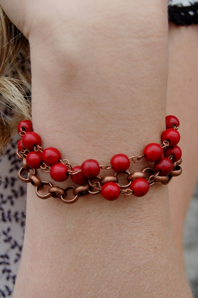 Red Turquoise Beaded Bracelet - Kade & Cate