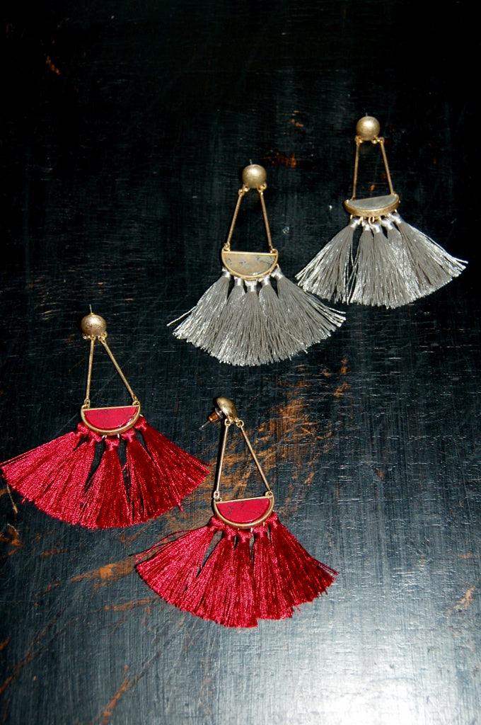 Vintage inspired triangle natural stone tassel earrings.