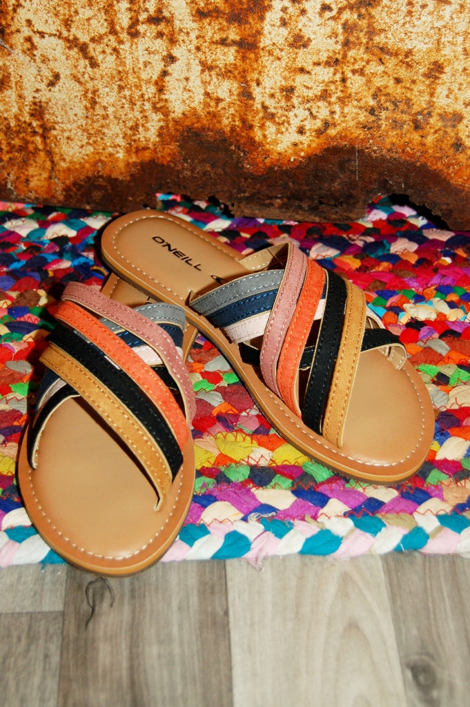 O'Neill Palm Desert slip on retro slide sandal.  Summer sandals.  Bohemian sandals.