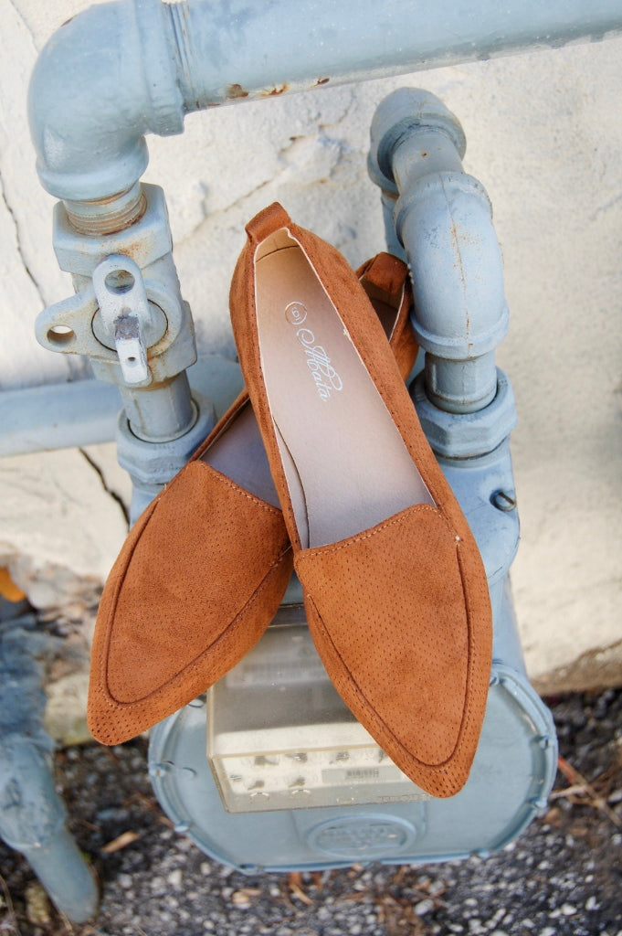 Tan classic slip on loafer style shoe.  Flat sole shoes.  Casual bohemian slip on shoes.  fall shoes.