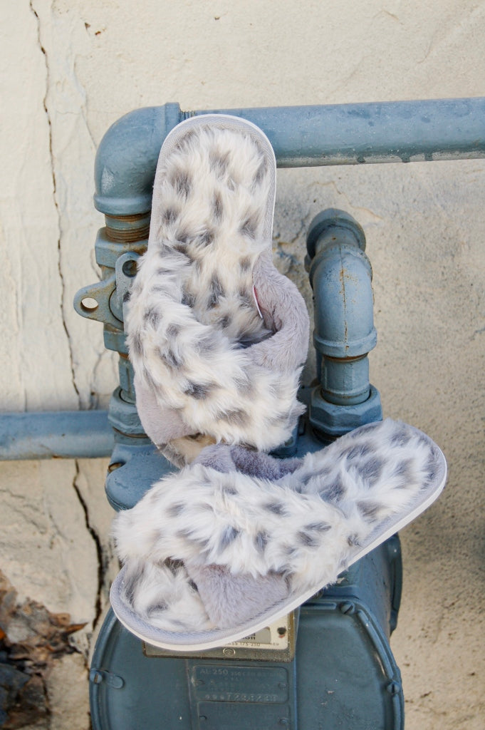 Super soft, faux fur, animal print slippers.  Slipper shoes.  Slippers with soles.  faux fur slippers.  house shoes.  trendy house shoes.