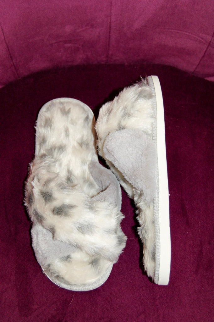 Animal Print Faux Fur Slippers with Soles