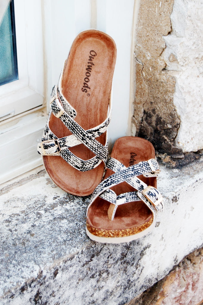 Outwoods snakeskin strappy sandals.  Snake print sandals.  Birkenstock inspired sandals.  Snakeskin birk inspired sandals.  Slide on sandals.