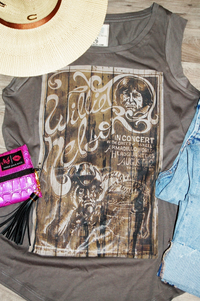 Retro willie nelson concert poster cap sleeve tank.  gina's tees tank.  willie tank.