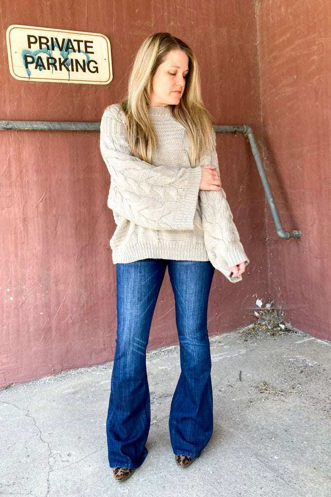 oversized cable knit sweater with wide oversized sleeves.  soft, loose fit sweater.  zenana sweater.