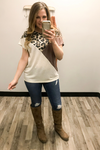 Leopard & Color Block French Terry Short Sleeve Top {S - 3XL} - Kade & Cate