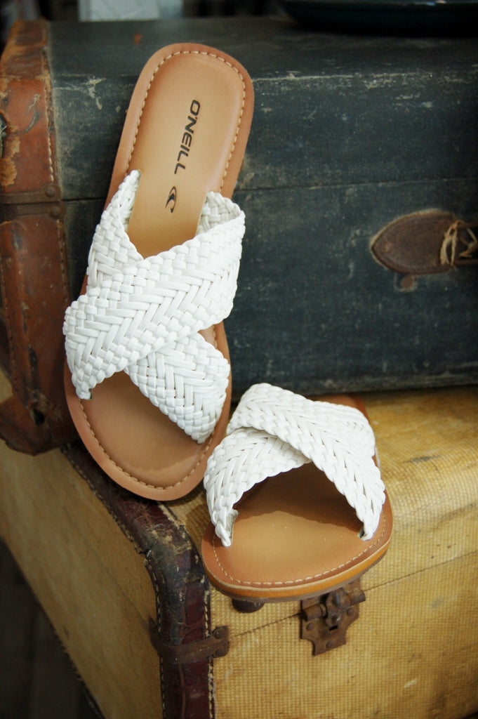Palm springs white summer sandal by O'neill.  Slide sandals.  white sandals.  braided strap sandals.