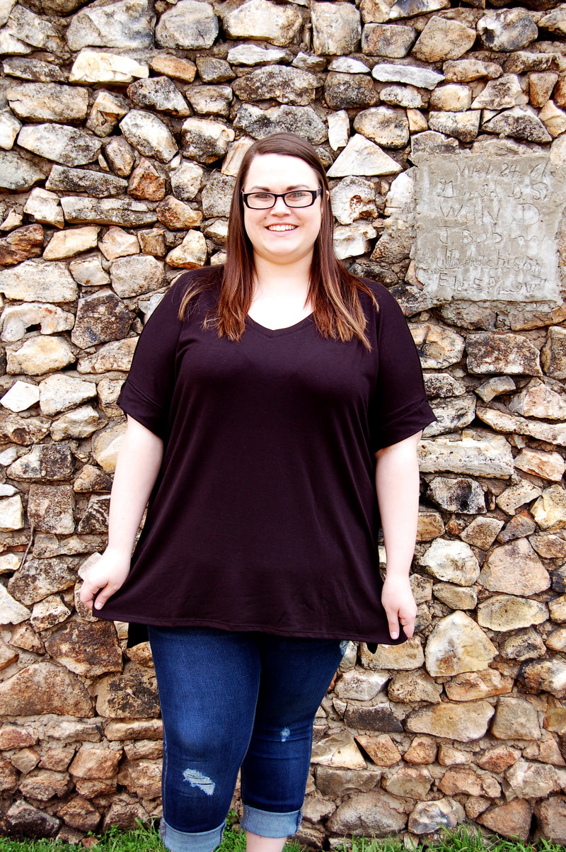 Classic solid black rolled sleeve v neck tee shirt.  Plus size tee.  Curvy collection black tunic style tee.