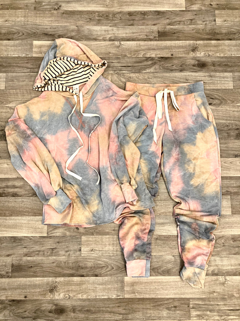 blush and blue tie dye loungewear. 2 piece lounge set.  jogger pants and hoodie loungewear set. tie dye pajamas.