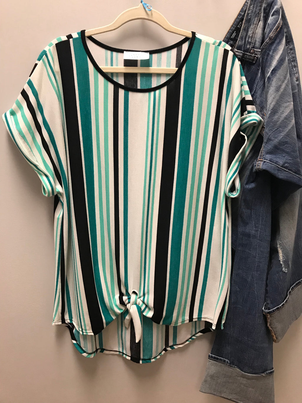 Green Striped Knot Top - Kade & Cate