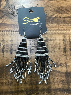 Black & Silver Tassel Earrings - Kade & Cate