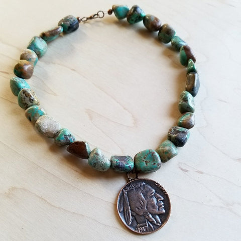 Jewelry Junkie collar length necklace made of chunky African turquoise beads and a copper indian head coin.  Western style jewelry.  Bohemian style collar length necklace.
