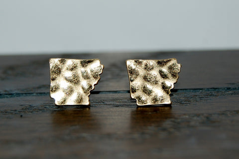 Hammered metail, gold toned, Arkansas state earrings.  State pride jewelry.