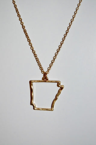 Dainty outline of Arkansas necklace.  Gold toned state pride necklace.