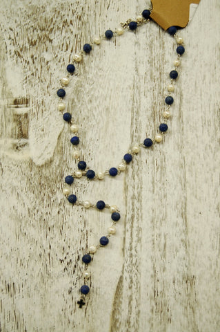Blue Lapis and Freshwater Pearl rosary drop necklace by Jewelry Junkie.
