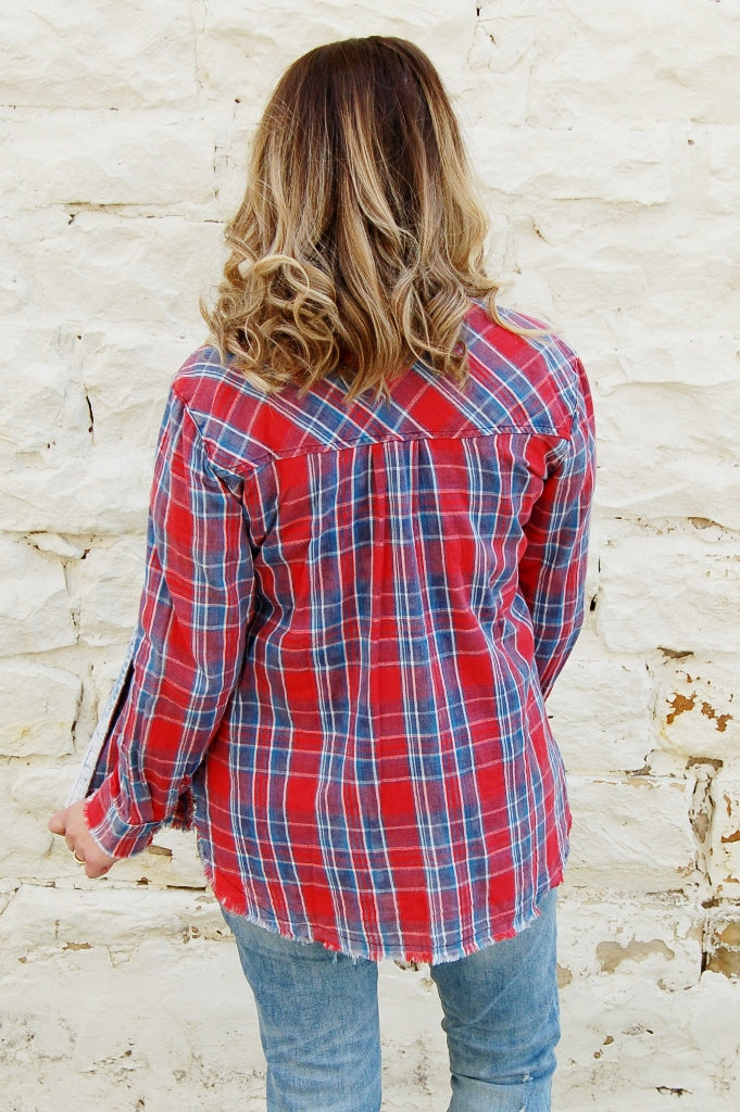 Country Girl Red Plaid Button Up - Kade & Cate