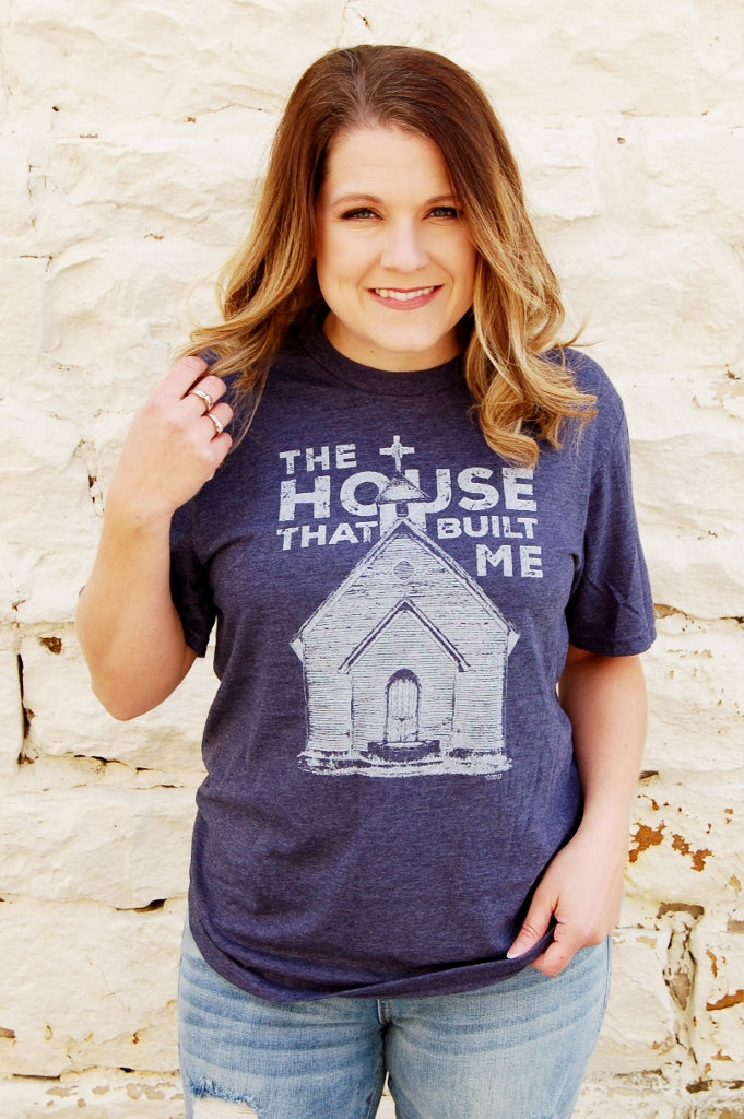Mason Jar Label the house that built me vintage church house graphic tee.