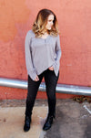 Lucky Brand sand washed silver shimmer henley style top with bell sleeve.