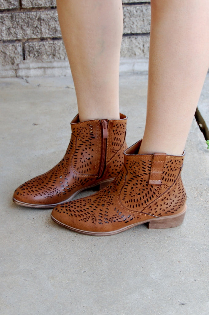 Gracelyn Laser Cut Bootie - Kade & Cate