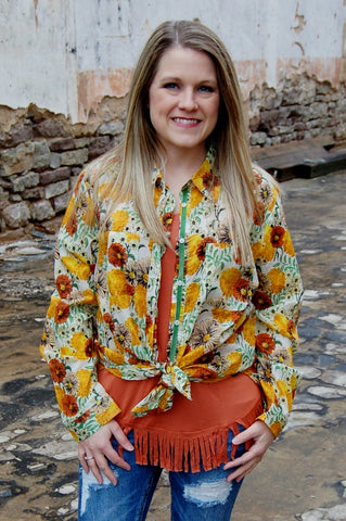 Boho Jane button up.  Retro sunflower and daisy button up with vintage bird applique and faith patch.  Bohemian style.  Fair trade compliant clothing.
