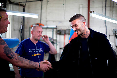 David Beckham Meets the Private White V.C. Team
