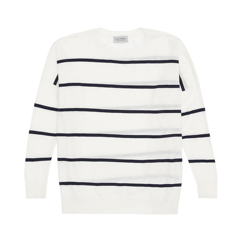 White Striped Lightweight Boyfriend Jumper