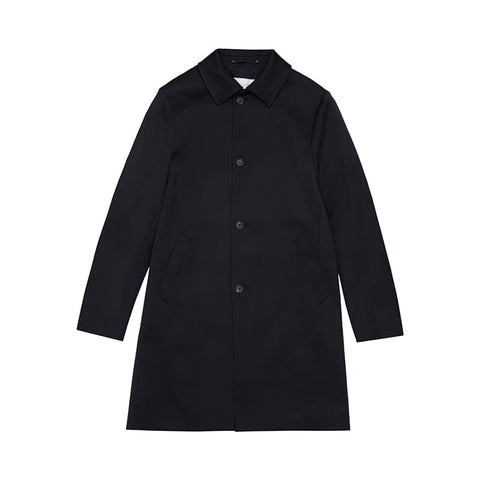 Navy Single Breasted Wool Overcoat