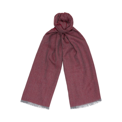 Grey And Merlot Extrafine Merino Two-Tone Scarf