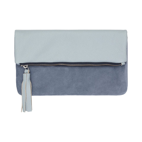 Leather & Suede Foldover Clutch Bag