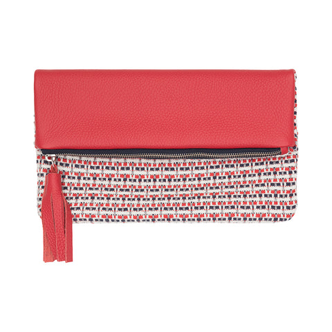 Red leather woven clutch bag